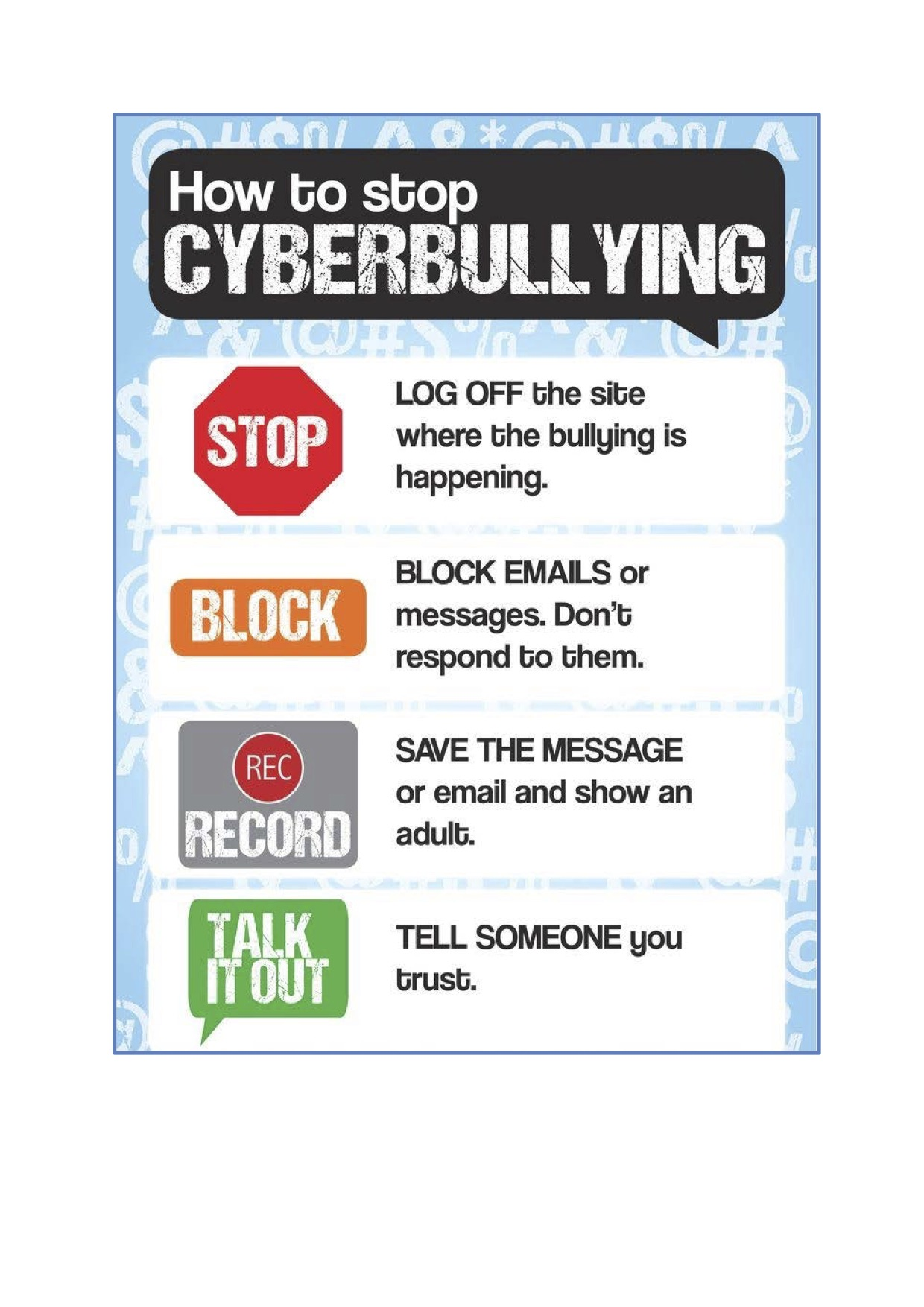 Online Safety - cyberbullying poster